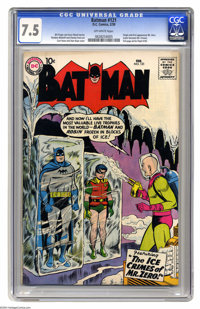 Batman #121 (DC, 1959) CGC VF- 7.5 Off-white pages. This issue has lots going for it, from the Curt Swan cover, to the i...