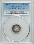Seated Half Dimes, 1837 H10C No Stars, Large Date (Curl Top 1) VF35 PCGS. PCGS Population: (14/838). NGC Census: (18/1020). VF35. Mintage 1,40...