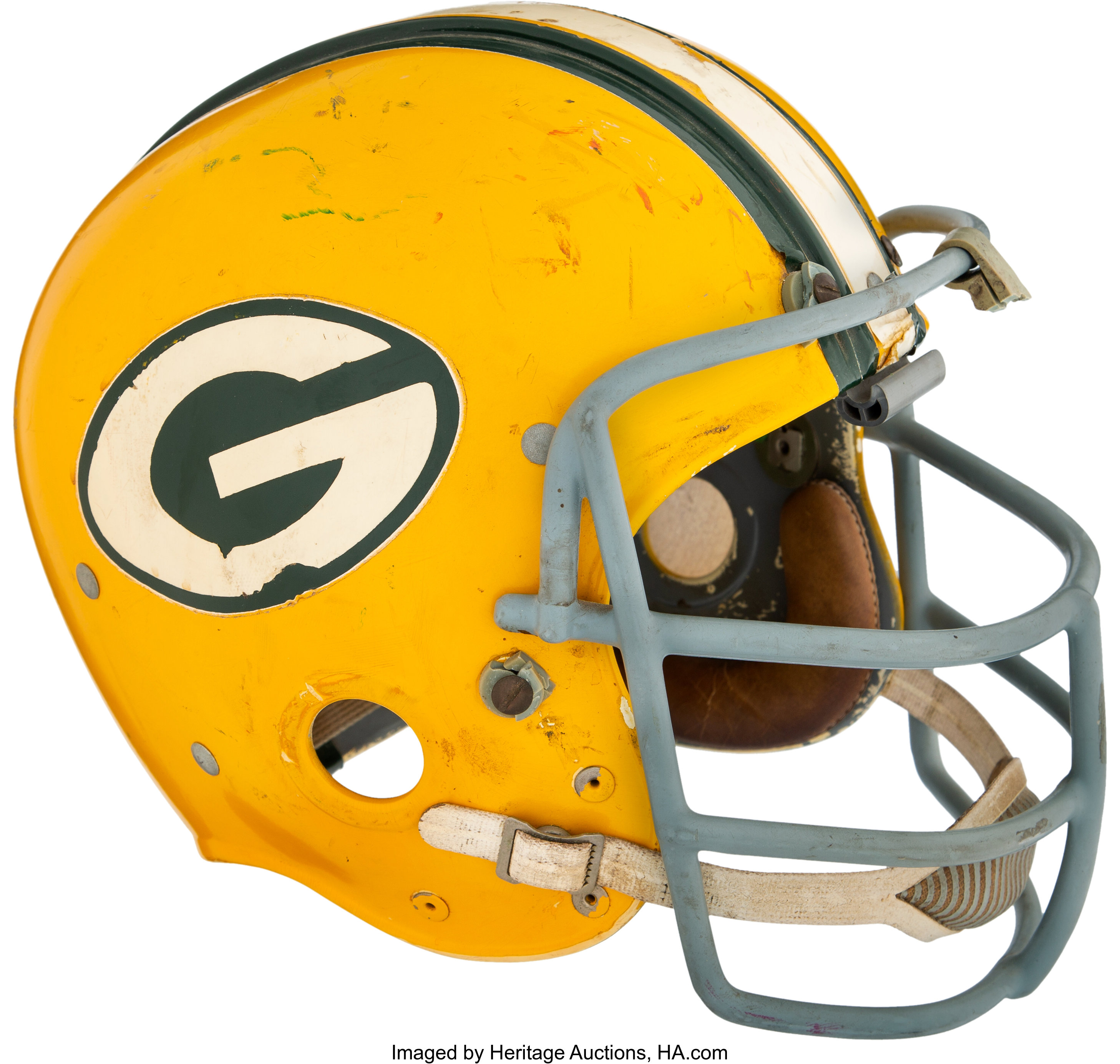 1967 69 Dave Robinson Game Worn Green Bay Packers Helmet Photo Lot 80087 Heritage Auctions