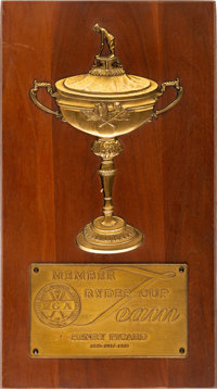 1935-37-39 Ryder Cup Team Member Plaque Presented to Henry Picard