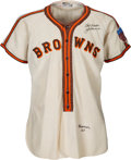 Baseball Collectibles:Uniforms, 1945 Jack Kramer Game Worn & Signed St. Louis Browns Jersey, MEARS A9.5....