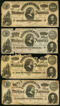 Confederate Notes:1864 Issues, T65 $100 1864 PF-2 (3); PF-3 Four Examples Fair or better.. ... (Total: 4 notes)