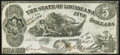 Obsoletes By State:Louisiana, Baton Rouge, LA- State of Louisiana $5 Oct. 10, 1862 Cr. 10 Very Fine-Extremely Fine.. ...