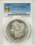 Morgan Dollars, 1885 $1 MS66 Prooflike PCGS Gold Shield. PCGS Population: (68/4). NGC Census: (39/5)....