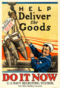 """Movie Posters:War, World War I Propaganda (U.S. Navy, 1918). Very Fine- on Linen. Recruiting Poster (28"""" X 40.75"""") """"Help Deliver the Goods,"""" He..."""