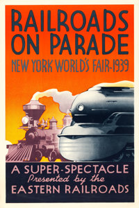 "New York World's Fair (Eastern Railroads, 1939). Fine/Very Fine on Linen. Exhibition Poster (27"" X 40.5"") &quo..."