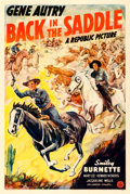 "Movie Posters:Western, Back in the Saddle (Republic, 1941). Very Fine- on Linen. One Sheet (27"" X 41"").. ..."