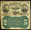 Fractional Currency:Third Issue, Fr. 1272SP 15¢ Third Issue Narrow Margin Pair Cut From a Fractional Currency Shield.. ...