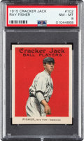 Baseball Cards:Singles (Pre-1930), 1915 Cracker Jack Ray Fisher #102 PSA NM-MT 8 - Only Two Higher. ...