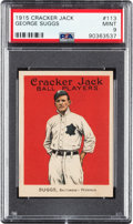 Baseball Cards:Singles (Pre-1930), 1915 Cracker Jack George Suggs #113 PSA Mint 9 - Pop Four, None Higher. ...