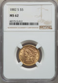 1882-S $5 MS62 NGC. NGC Census: (899/610). PCGS Population: (563/546). MS62. Mintage 969,000. ...(PCGS# 8360)