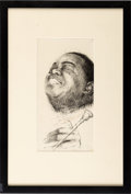 "Music Memorabilia:Original Art, Louis Armstrong ""Red Beans and Ricely Yours"" Sketch by Arthur Lerner...."