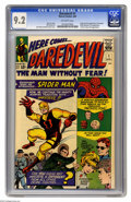 Silver Age (1956-1969):Superhero, Daredevil #1 (Marvel, 1964) CGC NM- 9.2 Off-white pages. Abookworm, ridiculed by other kids, gets in a freak accident andf...