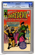 Silver Age (1956-1969):Superhero, Daredevil #5 (Marvel, 1964) CGC NM 9.4 Off-white to white pages.Toreador, Daredevil's on the floor! Actually, the guy who s...