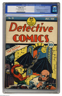 Detective Comics #29 (DC, 1939) CGC VG/FN 5.0 Off-white to white pages. Batman appeared on a comic book cover for only t...