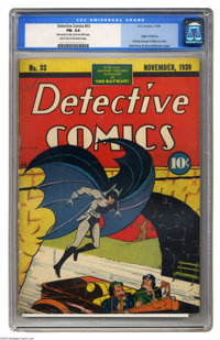 Detective Comics #33 (DC, 1939) CGC FN- 5.5 Light tan to off-white pages. This issue is the twelfth most valuable comic...