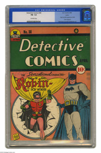 Detective Comics #38 Larson pedigree (DC, 1940) CGC FN- 5.5 Off-white pages. One of the most influential books of the Go...