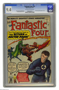 Silver Age (1956-1969):Superhero, Fantastic Four #10 (Marvel, 1963) CGC NM 9.4 Off-white to whitepages. The usually placid Reed Richards seems possessed by e...