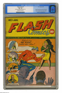 Flash Comics #1 (DC, 1940) CGC VG- 3.5 Off-white to white pages. Both Flash and Hawkman made their first appearances in...
