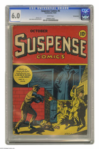Suspense Comics #6 Pennsylvania pedigree (Continental Magazines, 1944) CGC FN 6.0 White pages. This issue's moody cover...