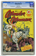 Golden Age (1938-1955):Superhero, Wonder Woman #1 (DC, 1942) CGC VF- 7.5 Off-white pages. Wonder Woman charges onto the scene in the first issue of her own co...
