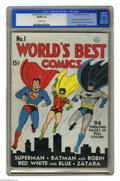 Golden Age (1938-1955):Superhero, World's Best Comics #1 (DC, 1941) CGC VG/FN 5.0 Off-white pages. If you've wondered why there's no issue #1 of the long-runn...