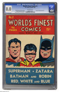 Golden Age (1938-1955):Superhero, World's Finest Comics #2 (DC, 1941) CGC VF 8.0 Off-white pages. The series World's Finest had a run of over 40 years, an...