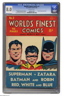 World's Finest Comics #2 (DC, 1941) CGC VF 8.0 Off-white pages. The series World's Finest had a run of over 40 years, an...