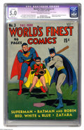 Golden Age (1938-1955):Superhero, World's Finest Comics #3 (DC, 1941) CGC Apparent VG/FN 5.0 Slight (A) Off-white to white pages. This Golden Oldie, at 96 pag...