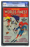 Golden Age (1938-1955):Superhero, World's Finest Comics #4 (DC, 1941) CGC FN- 5.5 Off-white to white pages. Fred Ray takes his turn at one of the typically wh...