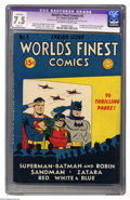 Golden Age (1938-1955):Superhero, World's Finest Comics #5 (DC, 1942) CGC Apparent VF- 7.5 Slight (A) Off-white to white pages. Batman and Superman were of co...