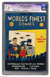 World's Finest Comics #5 (DC, 1942) CGC Apparent VF- 7.5 Slight (A) Off-white to white pages. Batman and Superman were o...