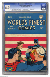 World's Finest Comics #6 (DC, 1942) CGC FN 6.0 Cream to off-white pages. The patriotic cover is by Fred Ray; Simon and K...