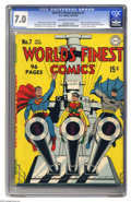 Golden Age (1938-1955):Superhero, World's Finest Comics #7 (DC, 1942) CGC FN/VF 7.0 Off-white to white pages. Supes, Batman, and Robin get out their big guns ...