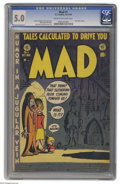 Golden Age (1938-1955):Humor, Mad #1 (EC, 1952) CGC VG/FN 5.0 Cream to off-white pages. Here it is, the cultural time-bomb that would level the playing fi...