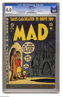 Mad #1 (EC, 1952) CGC VG 4.0 Off-white pages. The first satire comic book, Mad #1 was also one of the most influential c...