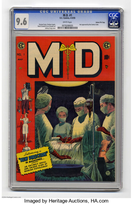 M.D. #1 Gaines File pedigree 9/12 (EC, 1955) CGC NM+ 9.6 White pages. If you're experiencing migraines or an upset stomach f...