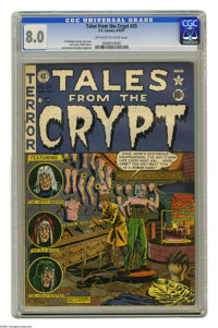 Tales From the Crypt #25 (EC, 1951) CGC VF 8.0 Off-white to white pages. This book's Jack Kamen-drawn tale posits a nerd...
