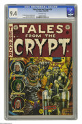 Golden Age (1938-1955):Horror, Tales From the Crypt #33 (EC, 1952) CGC NM 9.4 Off-white pages.Struggling to describe one of our favorite Jack Davis covers...