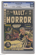Golden Age (1938-1955):Horror, Vault of Horror #24 Gaines File pedigree 10/11 (EC, 1952) CGC NM9.4 Off-white to white pages. This issue spotlights Johnny ...
