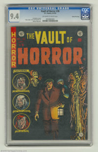 Vault of Horror #38 Gaines File pedigree 7/12 (EC, 1954) CGC NM 9.4 Off-white to white pages. Johnny Craig's cover leads...