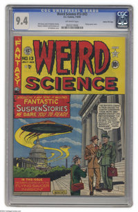 """Weird Science #13 (#2) Gaines File pedigree (EC, 1950) CGC NM 9.4 Off-white pages. Here's the noted """"UFOs over Wash..."""