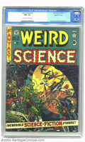 Golden Age (1938-1955):Science Fiction, Weird Science #9 Gaines File pedigree (EC, 1951) CGC NM+ 9.6Off-white to white pages. Wally Wood's first EC cover manages t...