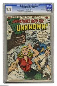 Adventures Into the Unknown #14 White Mountain pedigree (ACG, 1950) CGC NM- 9.2 Off-white pages. Have a look at this cov...