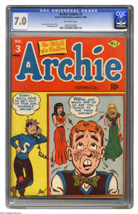 """Archie #3 (Archie, 1943) CGC FN/VF 7.0 Off-white pages. Both Overstreet and Gerber call this issue """"scarce."""" A..."""