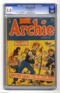 """Golden Age (1938-1955):Humor, Archie #4 (Archie, 1943) CGC GD/VG 3.0 Off-white to white pages. This issue is a Gerber """"7"""", and one of the hardest books to..."""