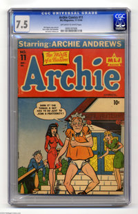 Archie #11 (Archie, 1944) CGC VF- 7.5 Off-white to white pages. Archie's smart enough to know that there's only one thin...