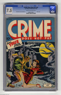 Crime Does Not Pay #33 (Lev Gleason, 1942) CGC VF- 7.5 Cream to off-white pages. Charles Biro drew almost every cover fo...