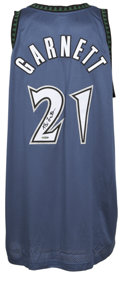 Basketball Collectibles:Others, Kevin Garnett Signed UDA Jersey. Playing like a man with a new lease on life now that he once again suits up for a contende...