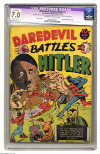 Daredevil Battles Hitler #1 (Lev Gleason, 1941) CGC Apparent FN/VF 7.0 Moderate (P) Off-white to white pages. Hitler's p...